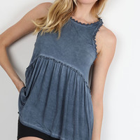 Crochet Trim Babydoll Top