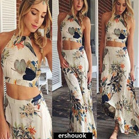 2015 halter sexy print top + skirt 2 pieces set sleeveless Dress summer New Women's Fashion = 1946832324