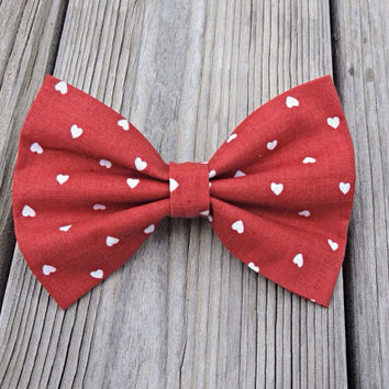 Red Hearts Big Bow, Cute Valentines Hair Barrette, Love Large Hair Accessory