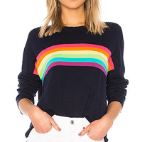 SUNDRY Rainbow Stripes Crew Neck in Navy