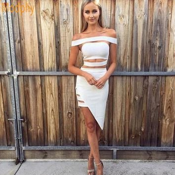 Two Piece Set Outfits Bandage Dress