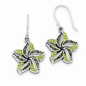 Sterling Silver Marcasite and Green Crystal Shepherd Hook Earrings
