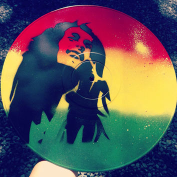 Bob Marley Original Spray Paint Record Painting