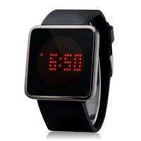 G1157 85-LED Rectangle Dial Digital Display Touch Watch (Black)