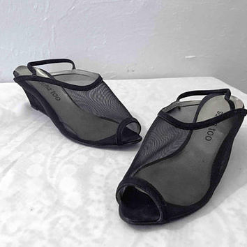 Vtg 1980s SACHA TOO Black Mesh Slingback Wedges / See Through Peep Toe Sandals / Open Toe Mesh Heels / Unique Sexy Transparent Wedge Heels