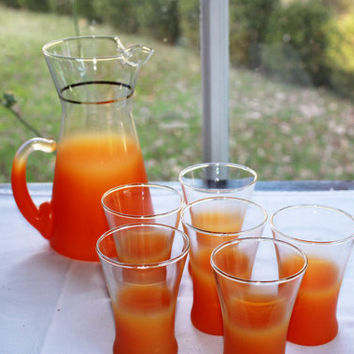 Vintage West Virginia Blendo Glass Tangerine Pitcher and Juice Glass Set