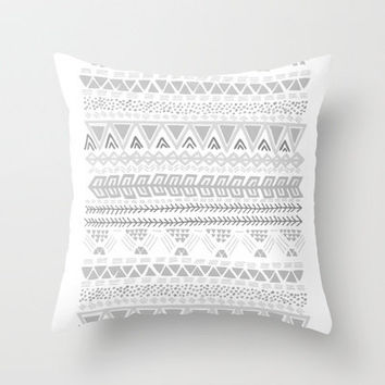 Grey aztec pattern Throw Pillow by Roxy Leaver | Society6