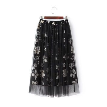 Floral Print Elastic Waist Pleated Ruched Mesh Skirt