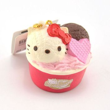 ac NOOW2 Authorized Hello Kitty Cup Icecream Squishy Soft Sweet Heart Kawaii Cat Bread Cartoon Phone Straps Toy Ballchain with Tag 1PCS