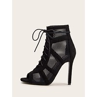 Peep Toe Lace-up Front Mesh Stiletto Heels