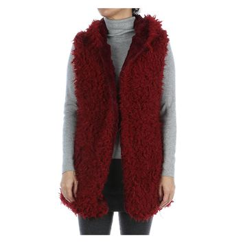 Burgundy Hooded Soft Faux Fur Vest
