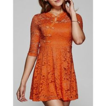 See-Through Lace Dress with Frog Button