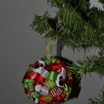 Mickey & Minnie Mouse Ribbon Topiary-style Ornament - Great for the Holidays or showing Team Spirit!