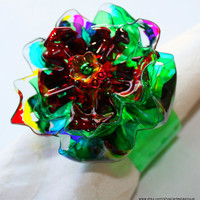 Rainbow Flower Napkin Ring Set, recycled plastic bottle, colorful, tabletop, home decor