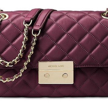 Michael Kors Sloan Women's Large Quilted-Leather Shoulder Cross Body Bag Plum