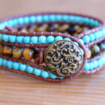 Bohemian leather cuff bracelet, Tiger eye, Turquoise howlite, blue brown beaded bracelet, distressed leather wrap, boho chic, Antique button