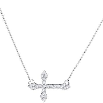 10kt White Gold Womens Round Diamond Cross Faith Pendant Necklace 1/4 Cttw