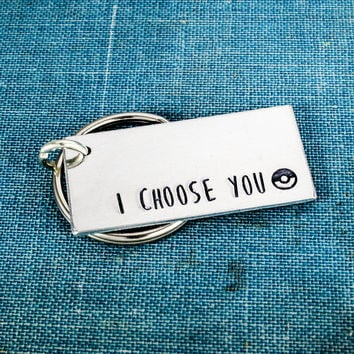 I Choose You - Pokeball - Nerdy Couples - Aluminum Key Chain