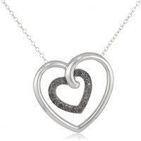 Sterling Silver Black Diamond Heart in Heart Pendant Necklace (.17 cttw), 18""