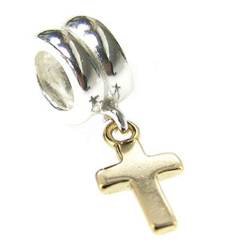 Queenberry 14K Gold 925 Sterling Silver Little Cross Dangle For Pandora Troll Biagi Chamilia European Charm Bracelets
