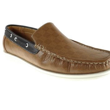 Mens Rocus Boat Slip On Checkers Design Loafers Shoes 3012 Brown