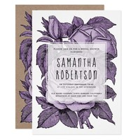Antique purple roses vintage wedding bridal shower card