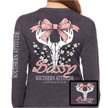 Southern Attitude Preppy Sassy Deer Skull Bow Long Sleeve T-Shirt