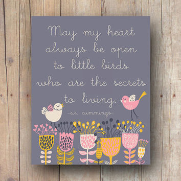 Bird Quote Print, Bird Illustration, e. e. cummings Poem, Inspirational Art, Nursery Printable, Instant Download