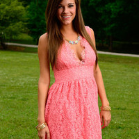 The Flora Lace Dress, Pink
