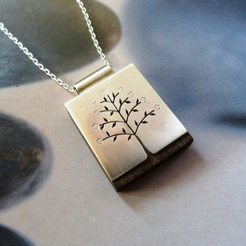 Wooden Sterling spring tree pendant, handcrafted necklace, metalwork, OOAK jewelry