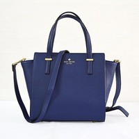 2018 New Kate Spade Women Fashion Shopping Leather Tote Handbag Shoulder Bag Color Blue