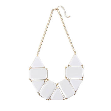 White Geometric Bib Necklace