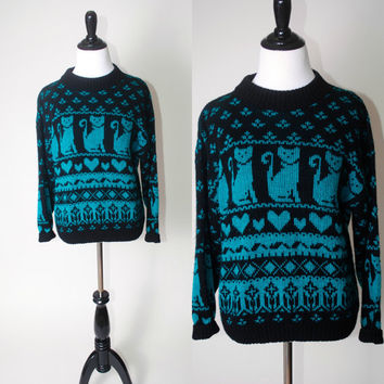Vintage 1990s Green Black CAT PRINT Hipster long sleeve Sweater
