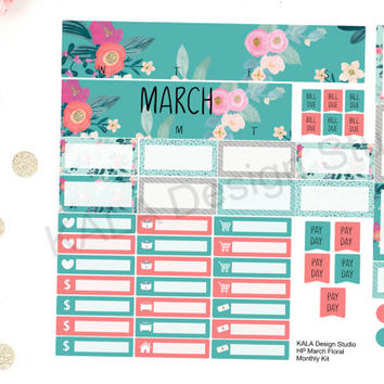 Happy Planner March Floral Monthly Layout Kit! Fits Happy Planner!