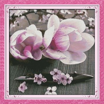 Love of Magnolias Flower Canvas DMC Cross Stitch Kit Art Crafts Accurate Printed Embroidery DIY Handmade Needle Work Home Decor
