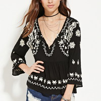 Floral-Embroidered Gauze Top
