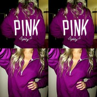 New Women PINK pattern printed hooded long-sleeved sweater