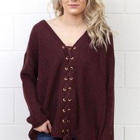 Laced Down the Front Knit Sweater {Raisin}