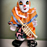 Vintage Circus Clown Doll, Porcelain Face Collectible Clown Doll, With Flute, Home Decor, German Clown Doll