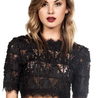 Corded Lace Crop Top - Black - FINAL SALE