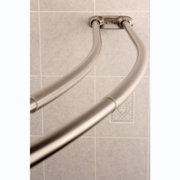 Curved Adjustable Double Shower Curtain Rod in Satin Nickel