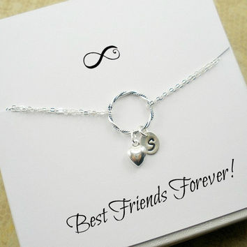 Friendship Bracelet, Initial Friendship, Best Friend Bracelet, Best Friend Forever, Best Friend card, Gift, Eternity Infinity Charm Circle