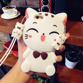 "Case for iPhone 7,Vivid Lucky Cat Shaped Animal Fashion Design 3D Cute Cartoon Character Protective Skin Soft Rubber Silicone Case Back Cover for iphone 7(4.7"" Inch) (White Cat)"