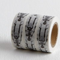 Black and White Skeleton Washi Tape, DIY Halloween Party Invitation or Planner Sticker, All Hallow's Eve Bones, 15mm