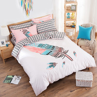 cartoon bedding sets 4pcs cotton duvet cover set for bedroom pink Feather simplicity twin full single double size free shipping
