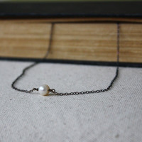 Rustic Single Pearl Necklace - Oxidized Sterling Necklace - Ivory Freshwater Pearl Necklace