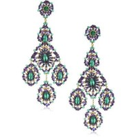 Miguel Ases Green Onyx 14k Gold Filled Triple Drop Earrings - designer shoes, handbags, jewelry, watches, and fashion accessories