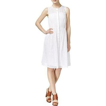 Maison Jules Womens Eyelet Sleeveless Casual Dress