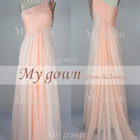 One-shoulder With Beads Draped Chiffon Prom Dress, Wedding Dress, Evening Gown,Dresses