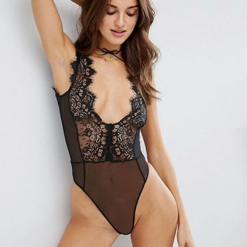 ASOS Sidney Eyelash Lace Plunge Body at asos.com